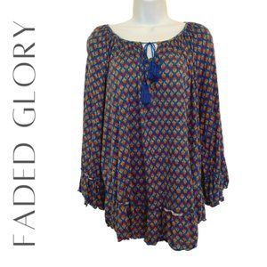 FADED GLORY Blue Print Peasant Top, XL (14/16)